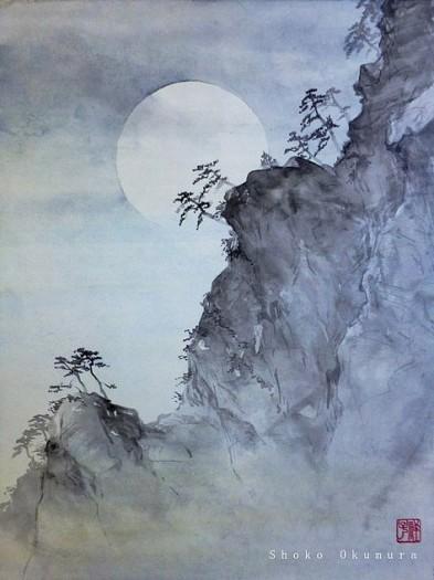 Shoko Okumura, paesaggio con luna piena